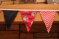 Fabric Banner - Fabric Bunting - NFL New England Patriots - Version 3 by monkeyandlamb on Etsy