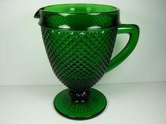 Vintage Jeanette Forest Green Diamond Point Glass Pedestal Pitcher Jug Ewer