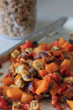 Butternut squash eggplant and tomatoes roasted for pasta salad | recipe on foodwithaview.com