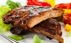 Honey Rum ribs with side dishes