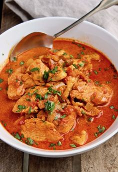 Chicken Paprikash ~ classic Hungarian comfort food, chicken simmered in chicken stock, onions, paprika and finished with sour cream.