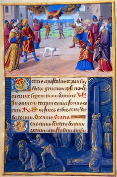 Sts. Peter and Paul: Fall of Simon Magus | Border: Decapitation of Paul and Crucifixion of Peter | Hours of Henry VIII, in Latin | Illuminated by Jean Poyer | France, Tours | ca. 1500 | The Morgan Library & Museum