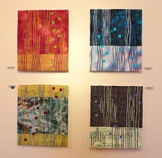 """Its 12 pieces grew from a """"somewhat non-specific, between-class"""" exercise inspired by a class with quilt artist, Hollis Chatelain. All 12 pieces were made using the same elements: two or three rectangles, nine squares, and some lines. Each measures approximately 13″ x 16."""""""