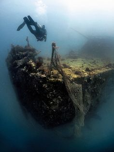 The stern of the El Qaher in the southern Red Sea lying in 21m.