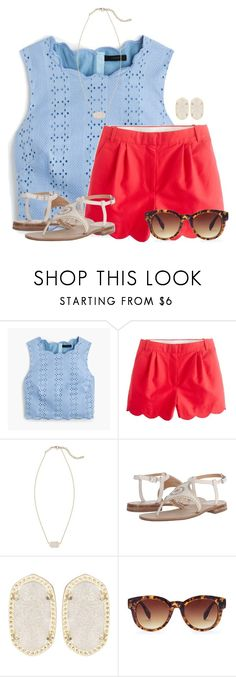 """""""~scalloped summer~"""" by flroasburn ❤ liked on Polyvore featuring J.Crew, Kendra Scott, Jack Rogers and Forever 21"""