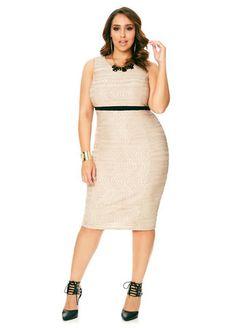 Textured Knit Sheath Dress Ashley Stewart