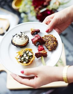 """Gourmet finger foods, like quinoa cakes and fancy French toast skewers from Haute Chefs LA, are crowd favorites that also make for a pretty presentation. """"Choose menu items that you can..."""