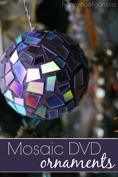 Turn your old, scratched DVD's into something beautiful by making these gorgeous Mosaic DVD ornaments for the Christmas tree! So easy and fun to make!