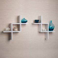 "Danya B FF2513 17"" Tall Floating Wall Shelves - Set of 2 White Home Decor Wall Decor Shelves"