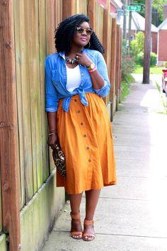 Orange Midi Skirt   Denim Top