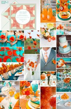 Orange- aquamarine