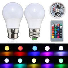 3W E27/B22 Dimmable RGB LED Light Color Changing Lamp Bulb + 24 Key Remote AC 85-265V