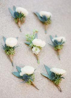 chic wedding boutonniere idea; photo: Justin DeMutiis