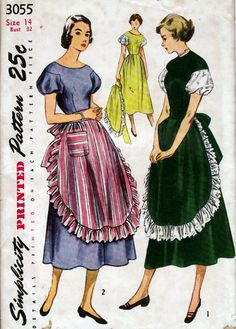 1940'50's Misses' One-Piece Dress and Apron Simplicity 3055 Size 34 Bust 32. $15.00, via Etsy.