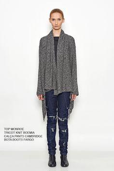 Top, tricot, calça e bota