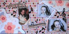 Piano scrapbook page idea with a title Musically Inclined and music notes and a keyboard from Everyday Life Album 25