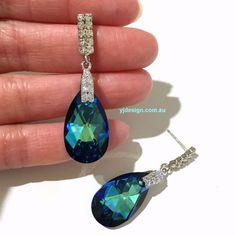 Something Blue Bridal Earrings Art Deco Wedding by YJDesign