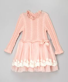 Look what I found on #zulily! Pink Cable-Knit Sweater Dress - Toddler & Girls #zulilyfinds