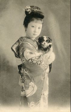 Young Geisha with Chin Puppy 1905 A young geisha, probably from Tokyo, holding a Japanese Chin puppy. In the late Meiji period, it was still common practice for young girls to have all their facial hair, including their eyebrows, shaved off.