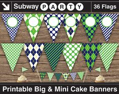 INSTANT DOWNLOAD Printable Golf Theme Party Banners - Big and Mini Cake Bunting. Navy Blue & Green. Add You Own Text / Clipart DIY jpg. via Etsy