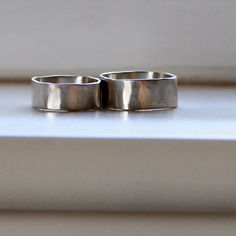 Square White Gold Wedding Band Set by tinahdee on Etsy