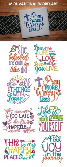 These lovely motivational word art designs are perfect for customizing your next. Border Embroidery, Machine Embroidery Patterns, Learn Embroidery, Embroidery Fonts, Embroidery Ideas, Shilouette Cameo, Word Art Design, Designs To Draw, Art Designs