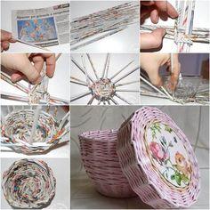 Creative Ideas - DIY Cute Woven Paper Basket Using Newspaper Diy Paper Crafts diy crafts using paper Newspaper Basket, Newspaper Crafts, Newspaper Wall, Decor Crafts, Diy And Crafts, Arts And Crafts, Creative Crafts, Recycled Paper Crafts, Diy Y Manualidades