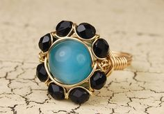 Wire Wrapped Ring  Turquoise Cats Eye Glass by GildedGardenDesigns, $18.00