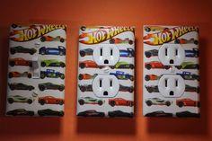 Hot Wheels 3 pc Set Light Switch Cover boys kids room child decor cars