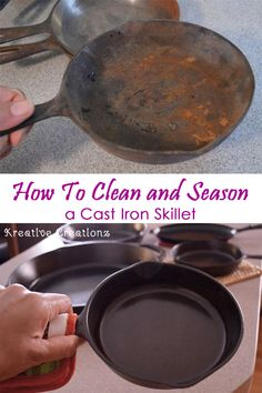 I've been putting off cleaning cast iron skillets. I have so many and I really need to take care of my cast iron skillets, so I'm finally getting around to it. After I you see how to clean cast Deep Cleaning Tips, House Cleaning Tips, Spring Cleaning, Cleaning Hacks, Cleaning Products, Cleaning Cast Iron Pans, Cast Iron Cooking, How To Clean Rust, How To Remove Rust