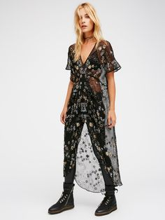 Starry Night Embellished Maxi Top | Crinkly sheer maxi top embellished with sequin stars and bead detailing. V-neckline with dolman style short sleeves and a slit detailing in front.