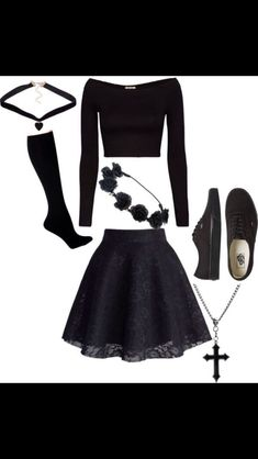 Slay. /// All Black Outfits Black Flower Crowns Goth Emo Fancy Dress Up Oufits Sexy Casual