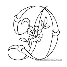 Free Monogram for Hand Embroidery: 'D' via Mary Corbet