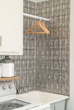 Hassle-Free Laundry Room Backsplash with a Vintage Look