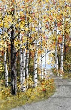 "A larger image of ""Path to the Bay,"" a watercolor painting by Kathy Glasnap of Door County, Wisconsin"