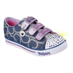 Girls' Skechers Twinkle Toes Shuffles Glitter Heart Sneaker /