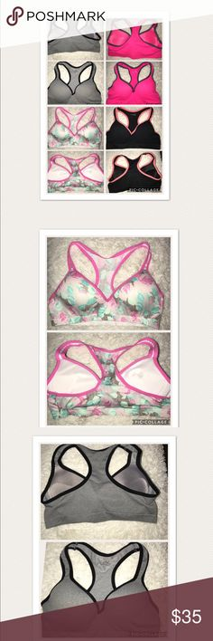 4*1 super discount Sport Bras Sport bra with push up and wire only the Flower is free wire one of them I put it on once but I increased my bust and it does not fit All are size L but I think it's better for women M  O 34C o D Flex own fit Intimates & Sleepwear Bras