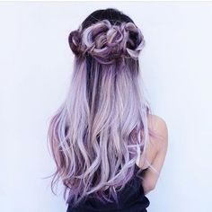 "Beautiful Purple to Lavender Color with a ""flower crown"" braid design Artist @evalam_ #hotonbeauty"