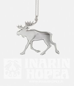 Elk Pendant, LElk Pendant, L Height 50 mm, width 56 mm Chain length 60 cm Sterling Silver 925 Handmade in Inari, Lapland Price Elk, Silver Jewelry, Moose Art, Pendants, Sterling Silver, Handmade, Moose, Hand Made