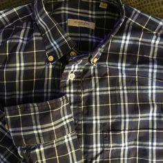 Men BURBERRY London Blue Plaid Medium Shirt L/S #Burberry #ButtonFront