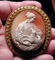 """Antique Cameo Pendant/Brooch Depicting """"Allegory Of Peace"""", Mounted In 15k Gold    c.1850"""