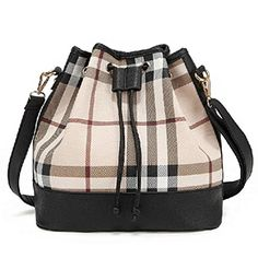 Samgo Women's Casual Bucket Bag Shoulder Handbags High Quality (Plaid)