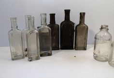 Antique Cork Top Medicine & Extract Bottles Lot Of 10 Cellar Hole Dig