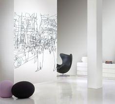 Marimekko Marimekko Hetkia Wall Mural Black/Grey/White / fabric and shower curtain available