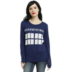 Hot Topic Doctor Who TARDIS Distressed Girls Sweater ($37) ❤ liked on Polyvore featuring tops, sweaters, knit top, ripped sweater, torn sweater, destroyed sweater and blue top