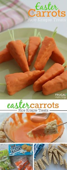 Easter Carrot Rice Krispies Treats 3 Ingredients Easy Easter Carrot Rice Krispies Treats 3 Ingredients Kids Food Craft on Frugal Coupon LIving Easter Snack Easter Recip. Easter Dinner, Easter Party, Easter 2018, Easter Table, Easter Gift, Holiday Treats, Holiday Recipes, Easter Snacks, Easter Food