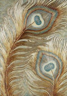 Peacock Canvas, Peacock Wall Art, Feather Wall Art, Feather Painting, Texture Painting, Fabric Painting, Gold Leaf Art, Art Graphique, Mural Art