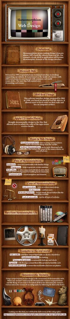 Infographic in webdesign with Skeuomorphism Style - you get extra bonus points it you can pronounce and spell the term. #websitedesign.