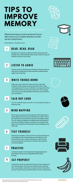 Tips to improve memory. How To Focus Better, Boost Concentration & Avoid Distractions How To Focus Better, How To Become Smarter, School Study Tips, Tips To Study, School Tips, Study Help, Study Ideas, Act Study Guide, College Study Tips