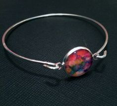 Geometric Pastel Pattern Resin Silver  Bangle by MyBlossomCouture